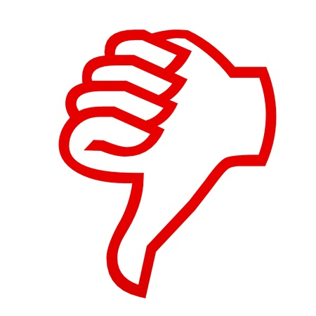 Red thumbs down on white. Computer generated image. Stock Photo - 12835013
