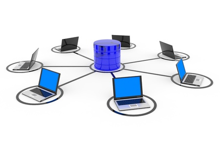抽象的なコンピューター ネットワークおよびデータベース。概念。コンピューター生成イメージ。