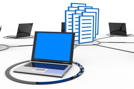 remote server: Abstract computer network with laptops and archive or database. Computer generated image.