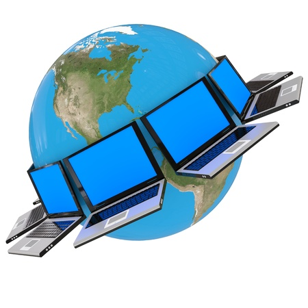 computer generated image: Global computer network. Computer generated image. Stock Photo