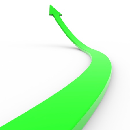 Green 3d arrow up. Computer generated image. Stock Photo - 12835001