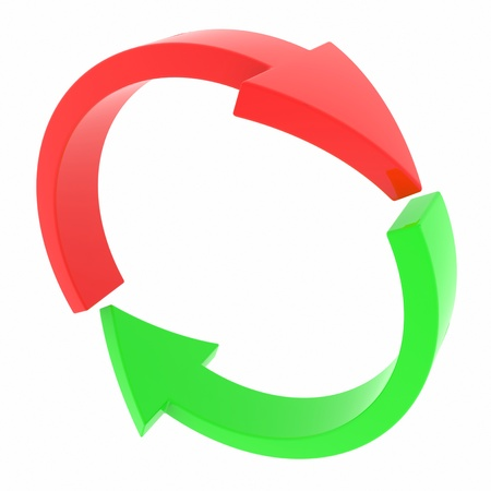 circulating: Red and green arrows. Cycle. Computer generated image.