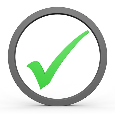 Green tick in circle. Computer generated image. Stock Photo - 12835007