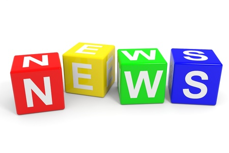 red dice: NEWS colorful cubes. Computer generated image. Stock Photo