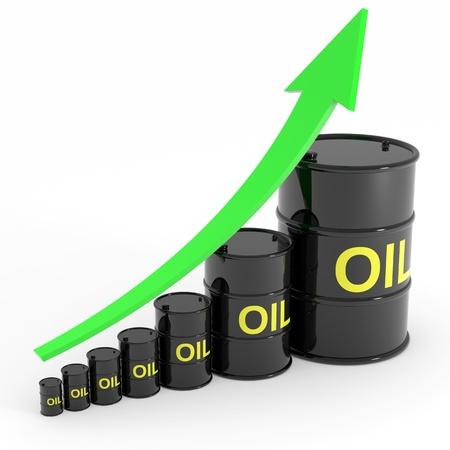 Rising oil barrels graph. Computer generated image.