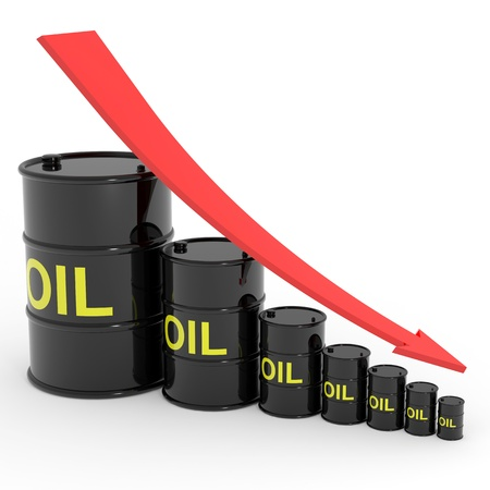 Decreasing oil barrels graph. Computer generated image.
