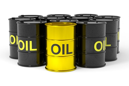 energy market: Oil barrels.  Computer generated image.