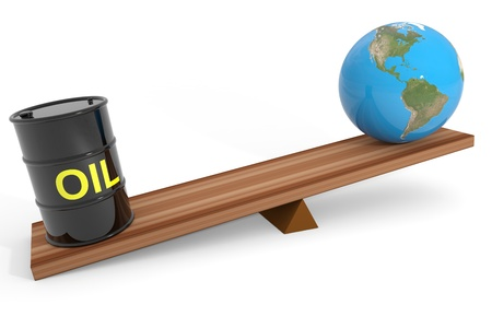 stock price: Oil barrel and earth globe on a scales. Computer generated image.