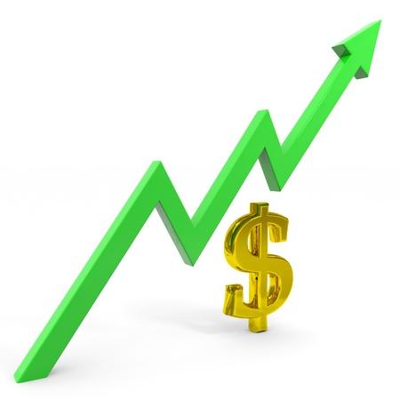 Raising dollar graph. Computer generated image.