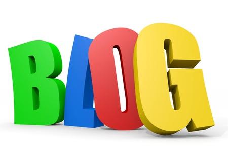 カラフルな 3 D の単語のブログ。コンピューター生成イメージ。