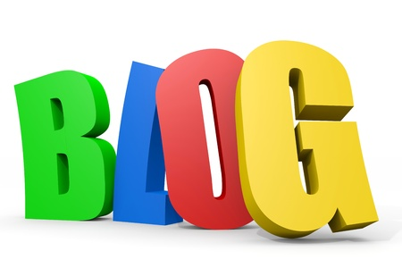 Colorful 3D word BLOG. Computer generated image. Stock Photo
