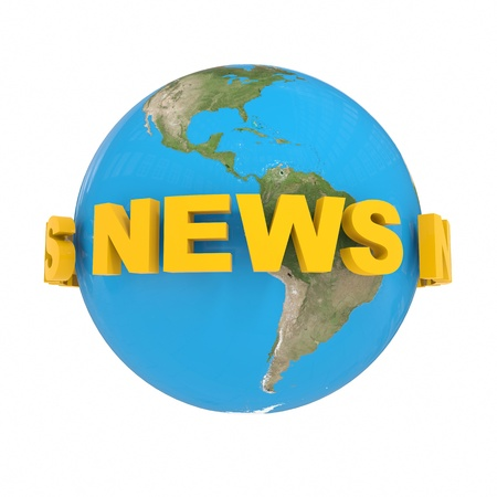 NEWS around globe earth. Computer generated image. Stock Photo - 12835216