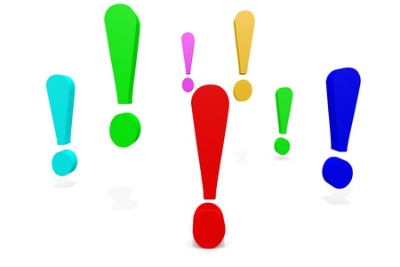exclamation sign: Colorful exclamation points. Computer generated image. Stock Photo
