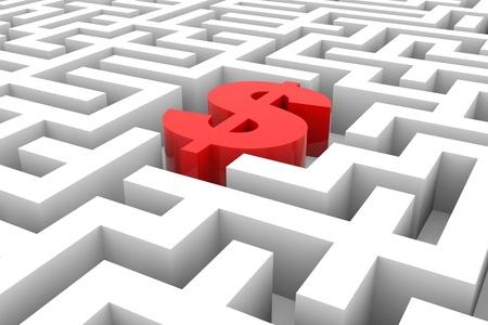 Signe dollar Rouge dans le labyrinthe. Image générée par ordinateur.
