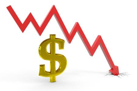 regress: Decrease dollar graph. Computer generated image.