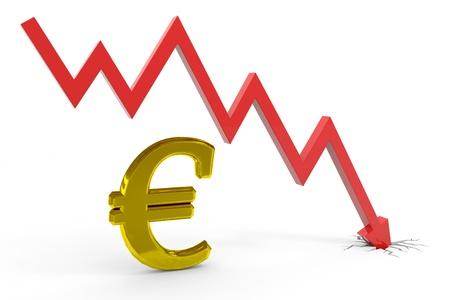 Decrease euro graph. Computer generated image.