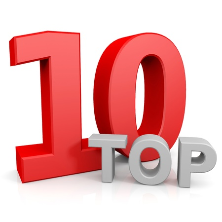 number 10: Top ten. Computer generated image. Stock Photo