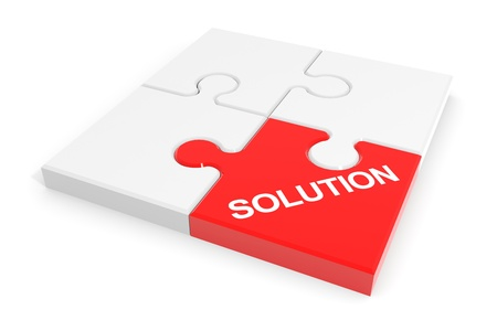 assembled: Assembled solution puzzle. Computer generated image. Stock Photo