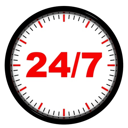24 7: Clock. 247 avaliable. Computer generated image.