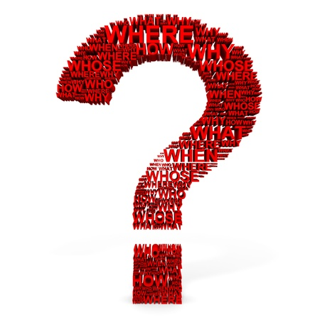 3D red question mark from questions.  Computer generated image. Stock Photo - 12835183