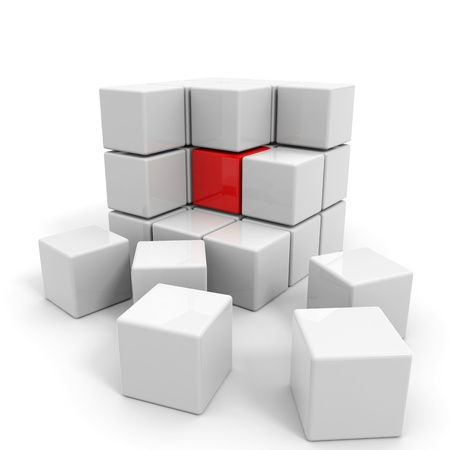 assembled: Assembled white cube with red core. Computer generated image.
