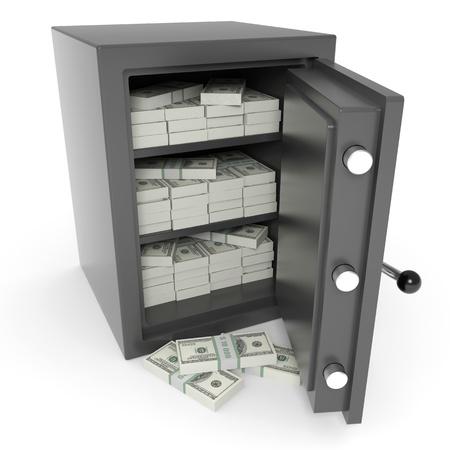 safe deposit box: Open bank safe with dollars inside. Computer generated image.