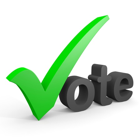 3D text vote. Green tick replacing letter V. Computer generated image.