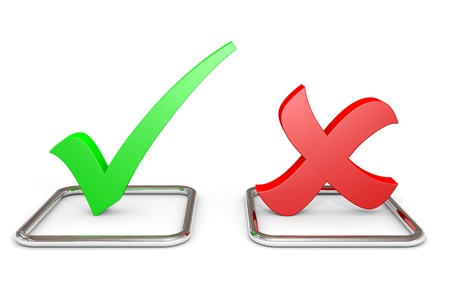 3D green checkmark and red cross in checkboxes. Computer generated image. Stockfoto