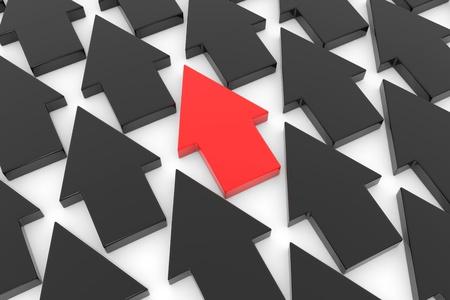 one way: Arrows. Unique concept. Computer generated image. Stock Photo