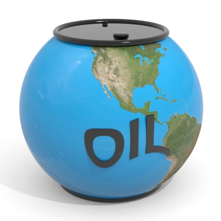petroleum blue: Earth globe - oil barrel. Computer generated image. Stock Photo