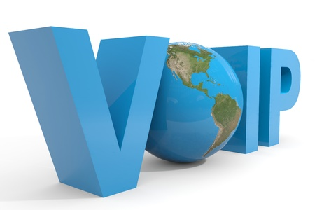 telephony: VOIP 3d text. Earth globe replacing O letter. Computer generated image. Stock Photo