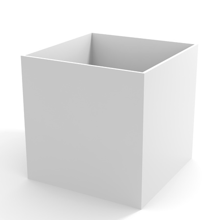Empty white box. Computer generated image.