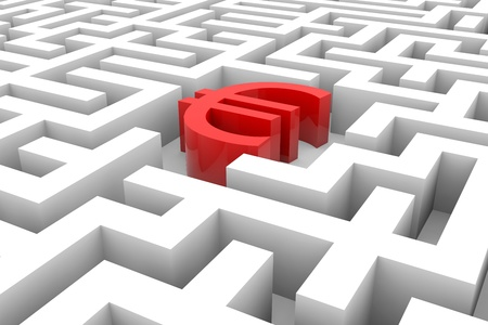 Red euro sign into the maze. Computer generated image. Stock Photo - 12839036