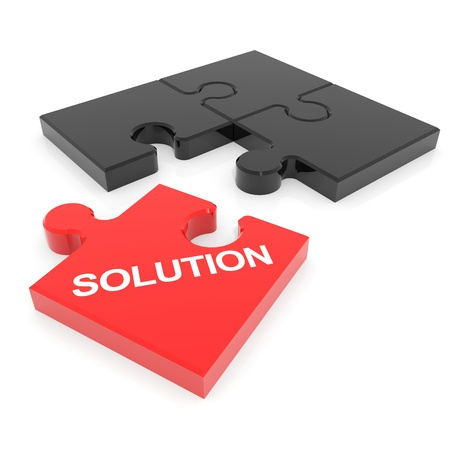 Disassembled solution puzzle. Computer generated image. Stock Photo - 12838993