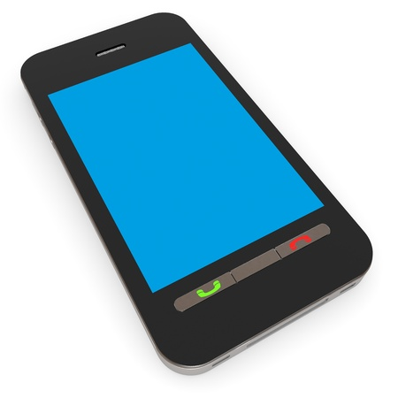 Smartphone with blue screen. Computer generated image. photo