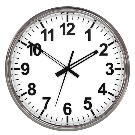analog: Clock on white background. Computer generated image. Stock Photo