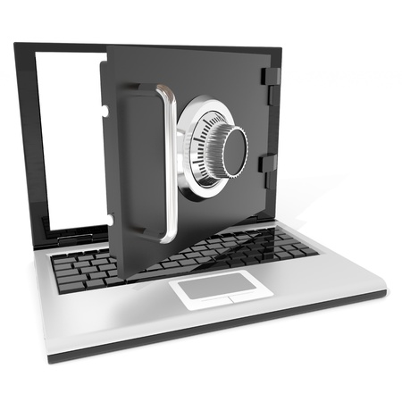 Open laptop safe. Computer generated image. Stock Photo