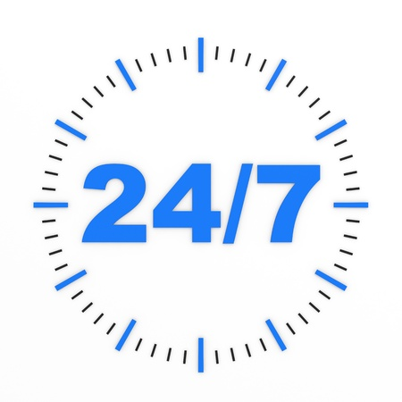 twenty four hours: Clock. 247 avaliable. Computer generated image.