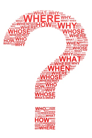 questionmark: Red question mark from questions.  Computer generated image. Stock Photo
