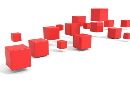 red cube: Flying red cubes. Computer generated image.