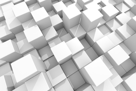 cube box: White glossy cubes on different height. Background. Computer generated image.