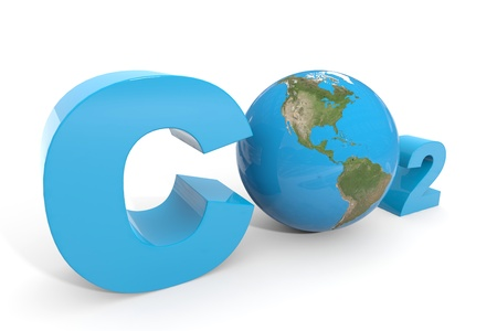 carbon monoxide: CO2 with earth globe. Computer generated image.