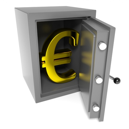 Open bank safe with gold euro sign inside. Computer generated image. Stockfoto