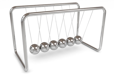 newton cradle: Newton cradle. Computer generated image.