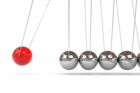 Newton cradle with one red ball. Computer generated image. Stockfoto