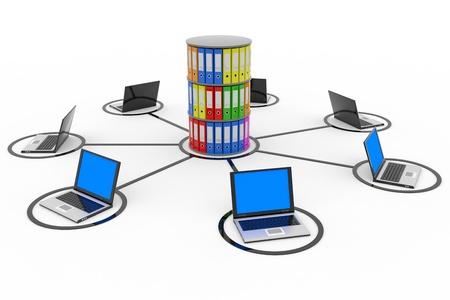 ラップトップとアーカイブやデータベースで抽象的なコンピュータ ネットワーク。コンピューター生成イメージ。
