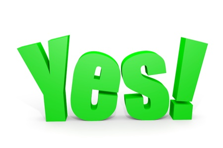 3d YES text with exclamation mark on white. Computer generated image. Stock Photo - 12952832