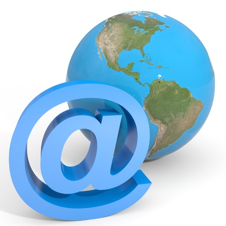 E-mail sign and globe earth. Computer generated image. Stock Photo - 12952971