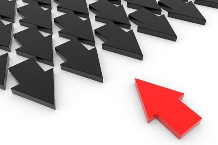 one way: Arrows. Leadership concept. Computer generated image.