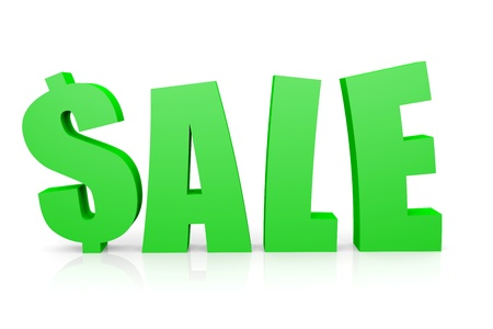 replacing: SALE 3D text. Dollar sign replacing S letter. Computer generated image. Stock Photo